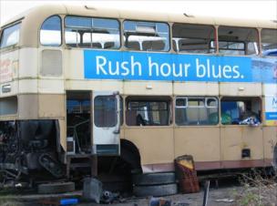 A bus in a scrapyard