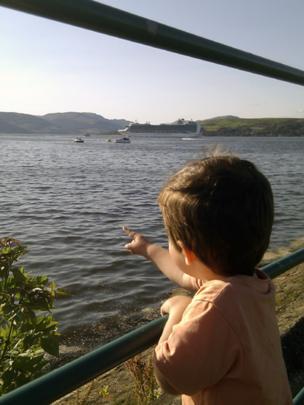 Alex watching a cruise liner leaving Greenock