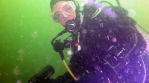 Mags scuba diving underwater