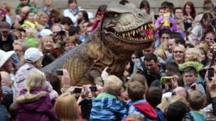 Animatronic Tyrannosaurus Rex at the reopening of the National Museum of Scotland
