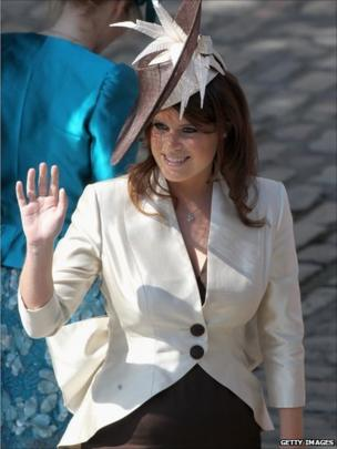 Princes Eugenie waving to the crowds