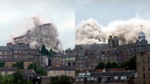 High rise flats being demolished in Dundee