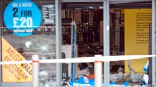 A ransacked shop in Tottenham, north London.
