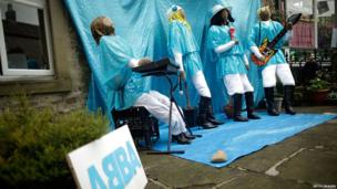 Abba scarecrows make an appearance at the annual Kettlewell scarecrow festival.