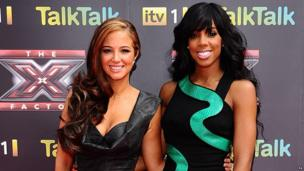 Tulisa Contostavlos and Kelly Rowland on the red carpet at the launch of the 2011 X Factor.