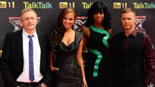 Louis Walsh, Tulisa Contostavlos, Kelly Rowland and Gary Barlow attending the launch of the 2011 series of The X Factor.