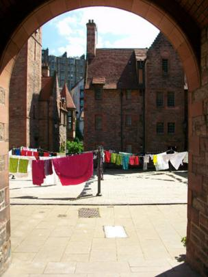 Washing line in a courtyard