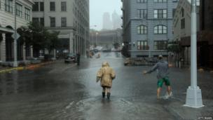 Flood waters in Dumbo Brooklyn, New York