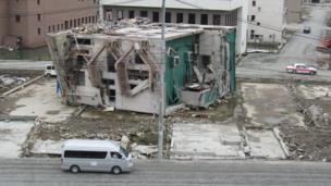 A three-storey building which was destroyed by the tsunami.
