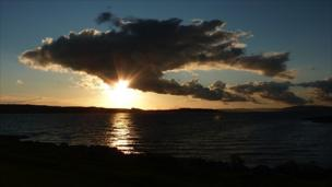 View of clouds over Millport on the Clyde