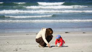 Mother and daughter on Traigh Eais beach