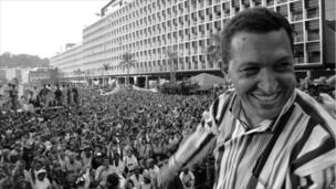 Hugo Chavez speaks to people gathered at the Plaza Caracas on 4 Feb 1998 in Caracas, Venezuela, during celebrations for the anniversary of the 1992 coup.