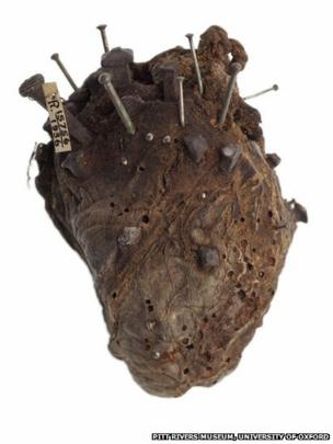 Sheep's heart with nails in it