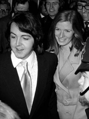 File photo dated 12/3/1969 of Paul McCartney leaving Marylebone Register Office after marrying Linda Eastman