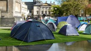 Protesters camped in front of the Royal Bank of Scotland in St Andrew Square, Edinburgh
