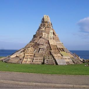 Wooden pallets stacked for a bonfire in Peterhead
