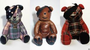 Three of the designer Pudseys, created by (L-R) Henry Holland, Mulberry and Patrick Grant