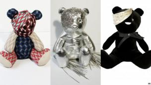Three of the designer Pudseys, created by (L-R) Jonathan Saunders, Giles Deacon and PPQ