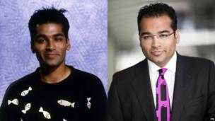Krishnan Guru-Murthy on the Newsround set in 1991 (left) and in his current job at Channel 4 News (right)