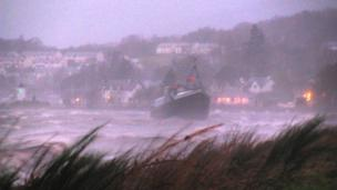 Boat in stormy water