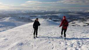 Skiers on Beinn A' Ghlo above Blair Atholl in Perthshire