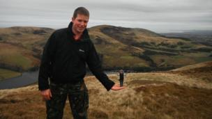 Chris Towers and his friend Rosalyn during a walk up the Carnethy and Turnhouse Hills in the Pentlands