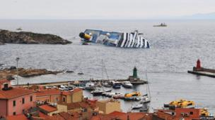 Costa Concordia lying on its side
