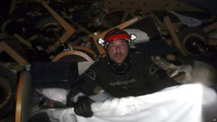 Rescue worker inside the ship