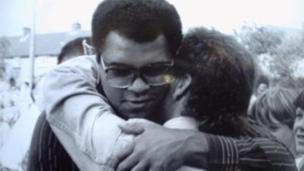 Muhammad Ali hugging Paddy Monaghan