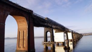 A train crosses the Tay Rail Bridge