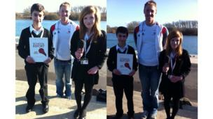 Antony, 13 and Caitlin, 14 from Waingels College in Woodley, visited the Redgrave-Pinsent Rowing Lake at Caversham to interview and film the GB rowing team in training. They had to use a handy step to bring men's four member Alex Gregory (height: 6ft 5in) down to their level!