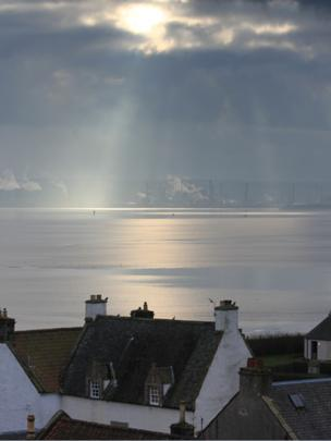 Houses in Culross with Grangemouth in the background