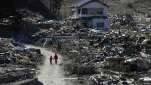Houses destroyed by the tsunami and earthquake