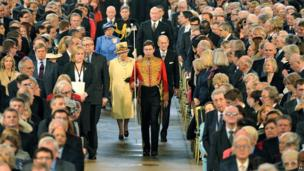 The Queen and Prince Philip entering Westminster Hall