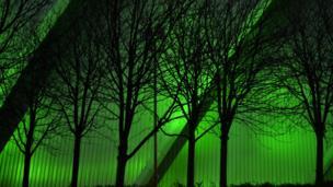 Glasgow Armadillo illuminated at night