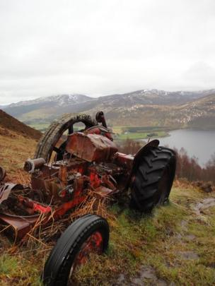 Tractor ruin on a hillside