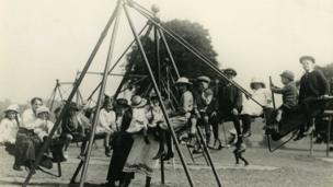 1920s playground and children playing