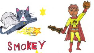 Two superheroes - Smokey and the Flame