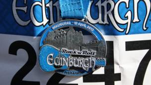 Medal for the first Edinburgh Rock 'n' Roll half marathon