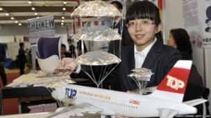 A plane with parachutes