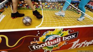 A miniature football stadium.