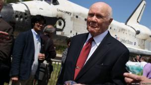 John Glenn a former NASA astronaut checks out Discovery