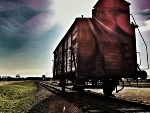 Railway carriage on the railway in Auschwitz-Birkenau