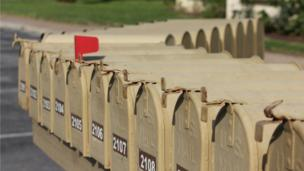 A row of letterboxes in the USA