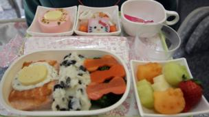 Tray of food with items cut into Hello Kitty shapes