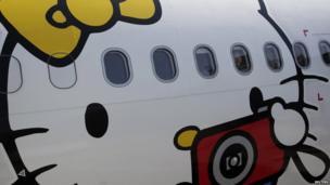Hello Kitty design on an aeroplane