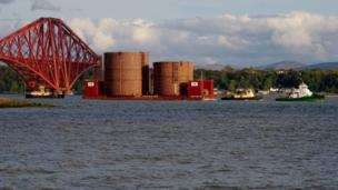 Steel caissons for the Forth Replacement Crossing arrive by boat