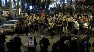 Protesters fill the streets in a demonstration against rising tuition fees in Montreal, Canada 23 May 2012
