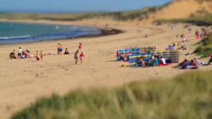 People on Fraserburgh Beach
