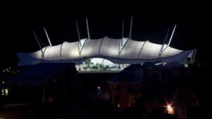 Dynamic Earth lit up at night
